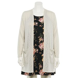 Juniors' Plus Size WallFlower Printed Knit Dress & Cardigan Set