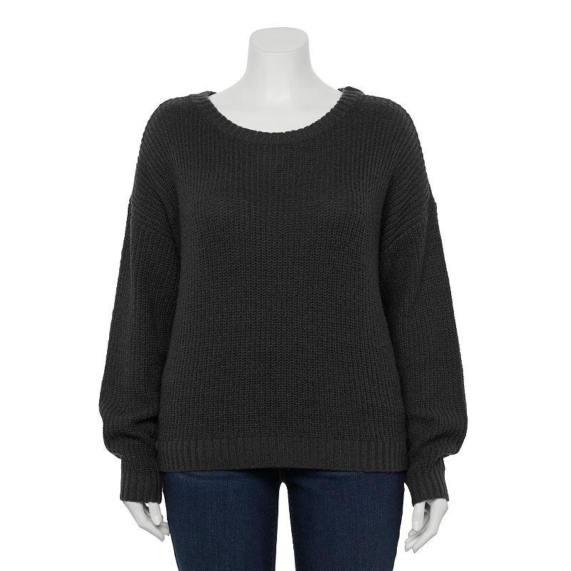 Plus Size EVRI Cozy Drop-Shoulder Crewneck Sweater, Women's, Size: 0X, Black