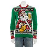 Men's Santa Drinking Beer Light-Up Sweater