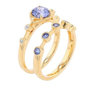 14k Gold Over Silver Simulated Tanzanite & Lab-Created White Sapphire Ring Set