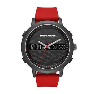 Skechers Men's Lawndale Red Silicone Analog-Digital Watch
