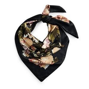 Women's Apt. 9® Black Floral Square Scarf