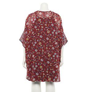 Juniors' Plus Size WallFlower 2-piece Print Flyaway Topper & Swing Dress Set
