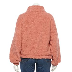 Juniors' Plus Size SO® Quarter-Snap Sherpa Sweatshirt