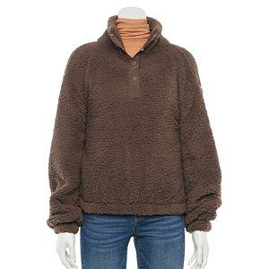 Juniors' SO® Long Sleeve Quarter Snap Sherpa Pullover