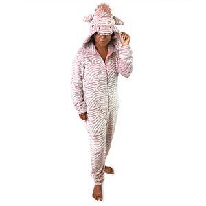 Women's Peace, Love & Dreams Zebra Print Pajama One-Piece