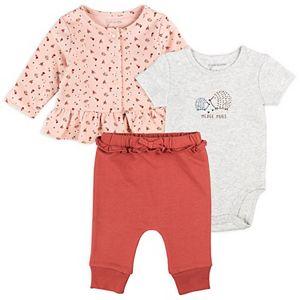 Baby Girl Mac & Moon Hedgehog 3-Piece Cardigan, Bodysuit & Pants Set