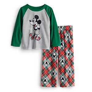 Disney's Mickey Mouse Toddler Boy Plaid Top & Bottoms Pajama Set by Jammies For Your Families®
