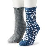 Cuddl Duds® Snowflake Fair Isle Boot Socks 2-Pack