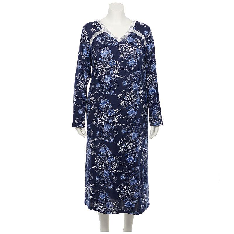 Plus Size Croft & Barrow Long Sleeve Knit Nightgown, Women's, Size: 4XL, Blue