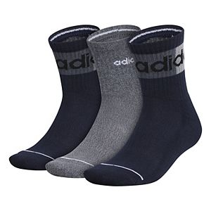 Men's adidas Blocked Linear II 3-Pack High Quarter Socks