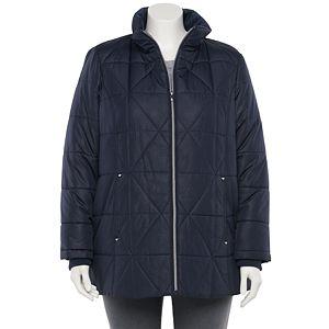 Plus Size d.e.t.a.i.l.s Faux-Fur Hood Quilted Jacket