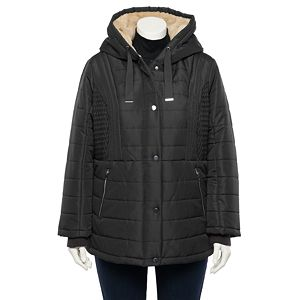 Plus Size d.e.t.a.i.l.s Fleece Hood Quilted Puffer Coat