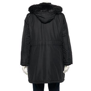 Plus Size d.e.t.a.i.l.s Faux-Fur Hood Water-Resistant Coat