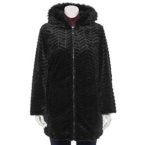 Plus Size d.e.t.a.i.l.s Faux Fur Trimmed Hood Jacket