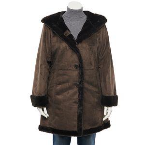 Plus Size d.e.t.a.i.l.s Hooded Faux-Shearling Coat