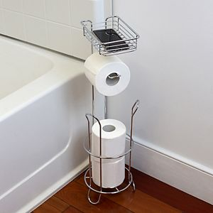 Home Basics Dispensing Toilet Paper Holder with Built-in Accessory Tray