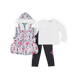 Baby Girl Little Lass Puffer Vest, Tee & Leggings Set