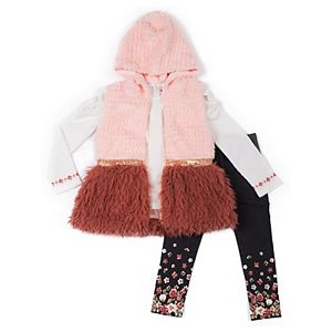 Baby Girl Little Lass Faux Fur Vest, Tee & Leggings Set