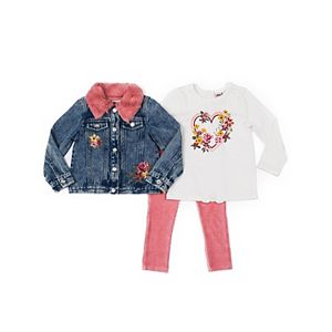 Baby Girl Little Lass Floral Jacket, Tee & Pants Set.