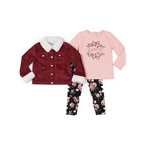 Baby Girl Little Lass Corduroy Jacket, Tee & Leggings Set