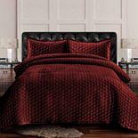 Tribeca Living Lugano Honeycomb Velvet Oversized Quilt Set