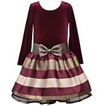 Girls 4-6x Bonnie Jean Long-Sleeve Velvet Taffeta Dress