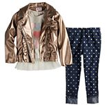 Toddler Girl Little Lass 3-Piece Faux-Leather Jacket, Long Sleeve Tee & Jeans Set
