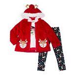 Toddler Girl Little Lass 3-Piece Faux-Fur Jacket Set