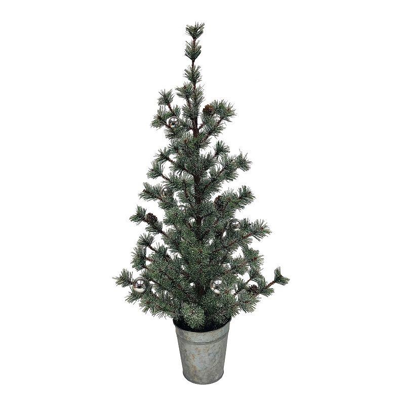 St. Nicholas Square Artificial Pine Christmas Tree & Ornament Floor Decor, White