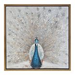 Madison Park Embellished Peacock Framed Canvas Wall Art