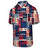 Men's Navy New England Patriots Tiki Floral Button-Down Woven T-Shirt