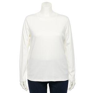 Plus Size Croft & Barrow® Essential Crewneck Long Sleeve Tee