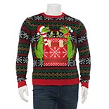 Big & Tall 33 Degrees Dinosaur with Beverage Pocket Ugly Christmas Pullover Sweater