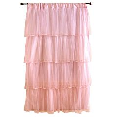 Tadpoles 1-Panel Tulle 63' Window Curtain- Pink
