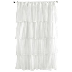 """Tadpoles 1-Panel Tulle 63"""" Window Curtain - White"""