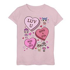 Girls 7-16 L.O.L. Surprise! Valentine's Day Candy Hearts Graphic Tee