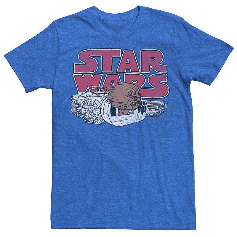 Men's Star Wars Chewbacca Falcon Cute Logo Tee, Size: 3XL, Med Blue