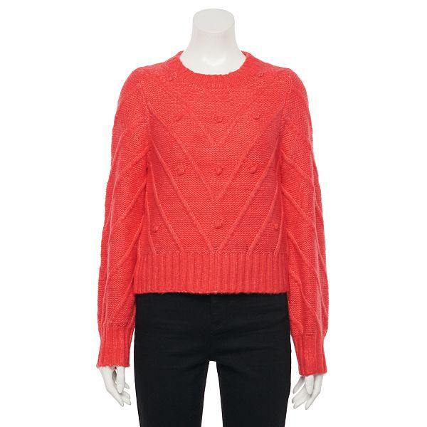 Juniors' SO® Bobble Trim Crewneck Sweater