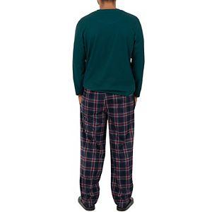 Men's Chaps Waffle Crewneck Top & Fleece Pants Sleep Set