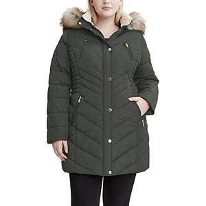 Plus Size Halitech Faux-Fur Hood Puffer Jacket