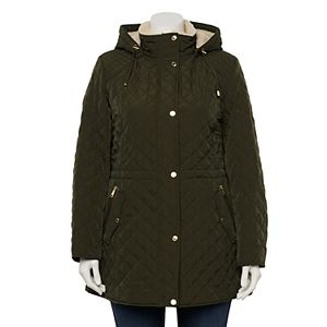 Plus Size Halitech Faux-Fur Hood Quilted Puffer Jacket