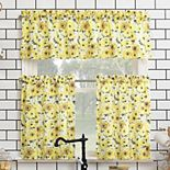 No. 918 Sunny Sunflower Print Semi-Sheer Rod Pocket Kitchen Curtain Valance & Tiers Set