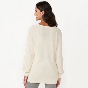 Women's LC Lauren Conrad Cable Front Knitted Tunic Sweater