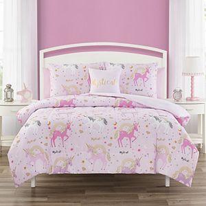 Threaded Golden Unicorn Comforter Set