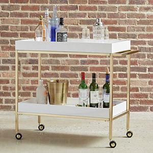Pulaski Brushed Gold & White Bar Cart