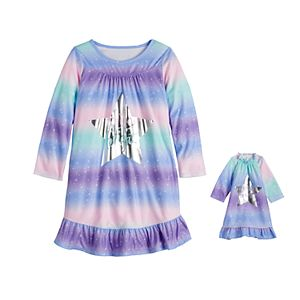 Girls 4-14 & Plus Size SO® Rainbow Night Gown & Matching Doll Gown