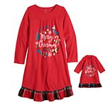 Girls 4-14 & Plus Size SO® Merry Christmas Sleep Gown & Matching Doll Set