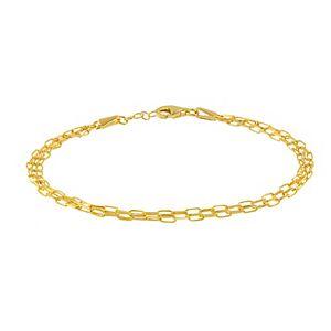 14k Gold 3 Strand Diamond-Cut Bracelet