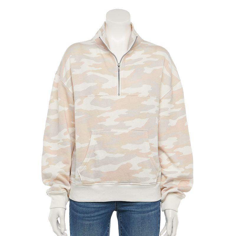 Juniors' SO Quarter-Zip Fleece Sweatshirt, Girl's, Size: XL, White